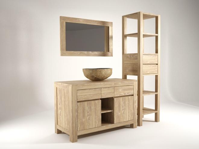 Armoire salle de bain bois for Armoire salle de bain en bois