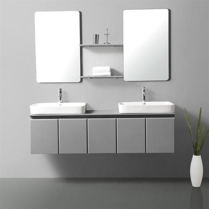 Id e armoire salle de bain grise for Salle de bain grise