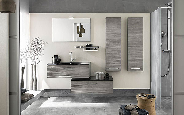 meuble salle de bain gris clair bois. Black Bedroom Furniture Sets. Home Design Ideas
