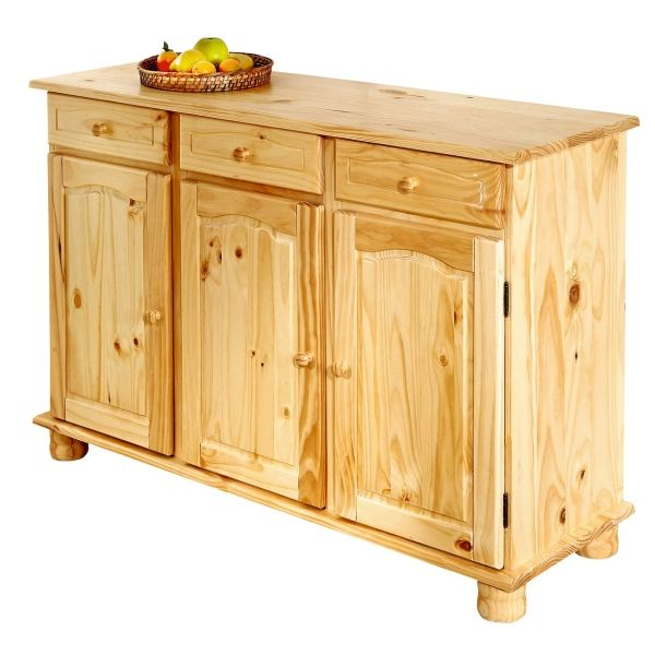 Buffet de cuisine en pin pas cher for Meuble en pin