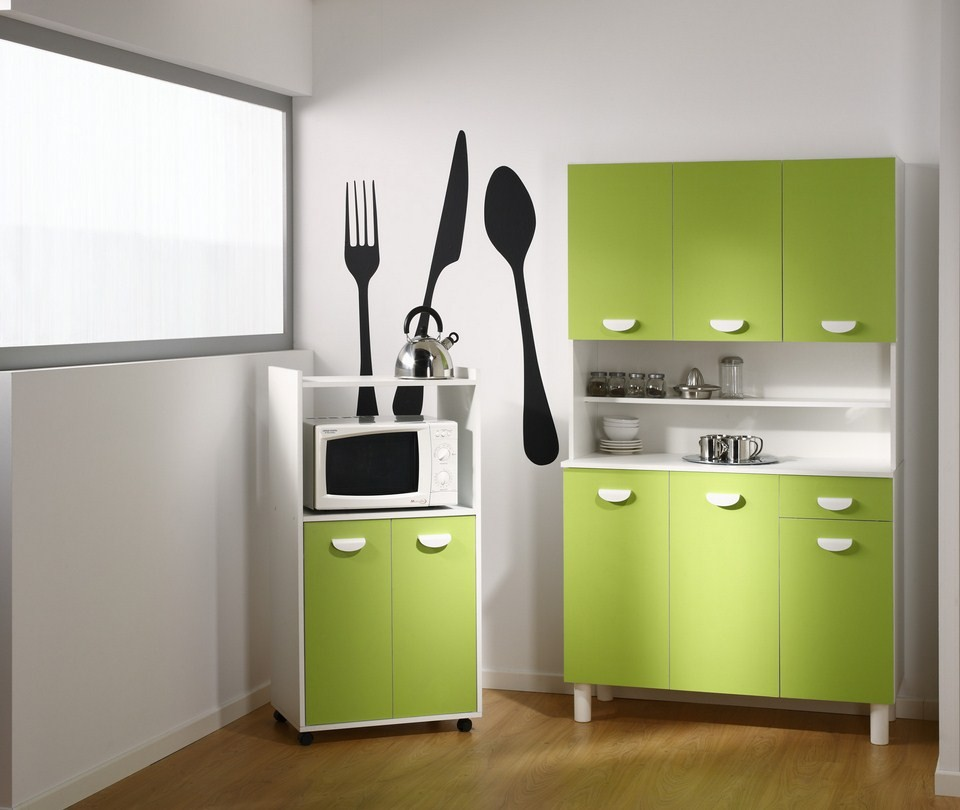 buffet de cuisine vert pomme. Black Bedroom Furniture Sets. Home Design Ideas