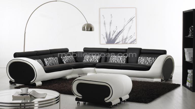 canape d 39 angle noir et blanc. Black Bedroom Furniture Sets. Home Design Ideas