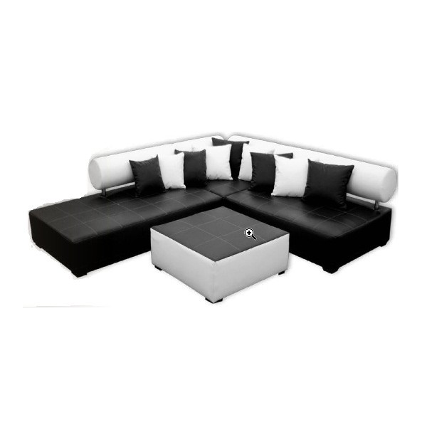 canape d 39 angle noir et blanc. Black Bedroom Furniture Sets. Home Design Ideas