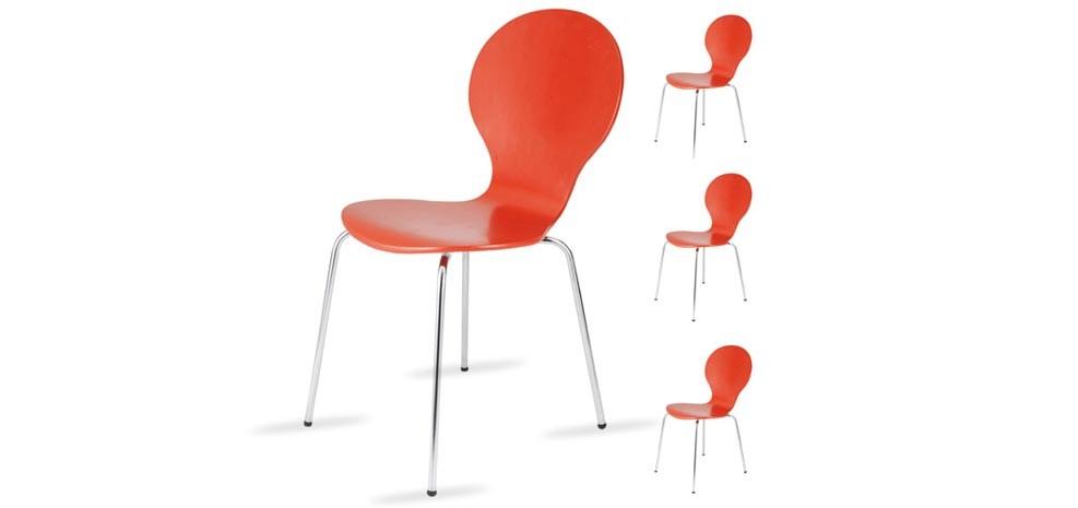 Exemple chaise de cuisine rouge en bois for Chaises de cuisine en bois