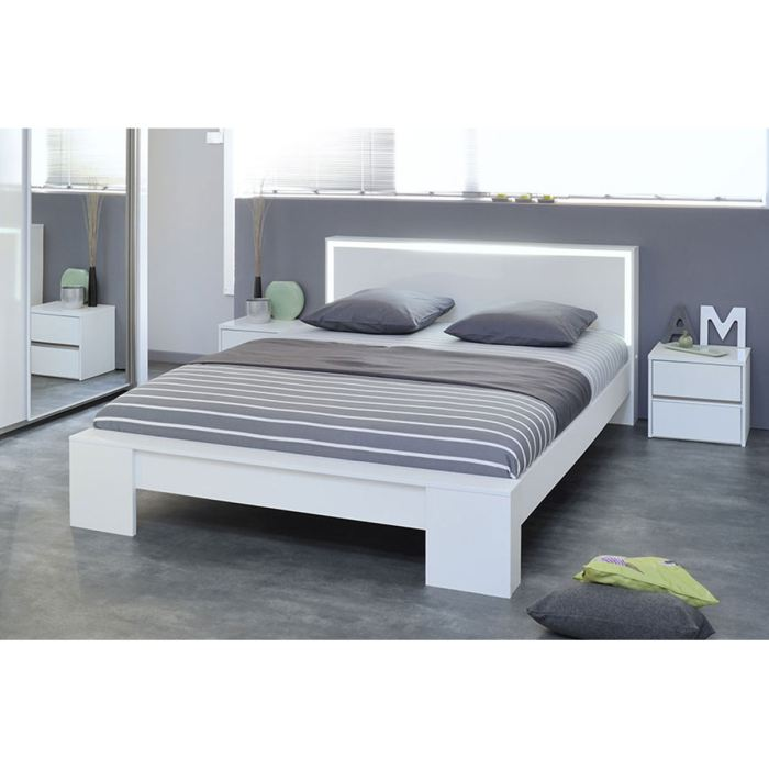 Lit 2 personnes blanc - Dimension standard lit 2 places ...