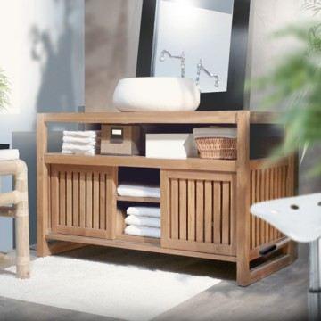 Meuble bas salle de bain en bois for Meuble bas de rangement bois salle de bain