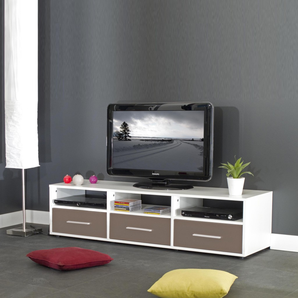 Exemple meuble bas tv couleur taupe for Meuble bas tv but