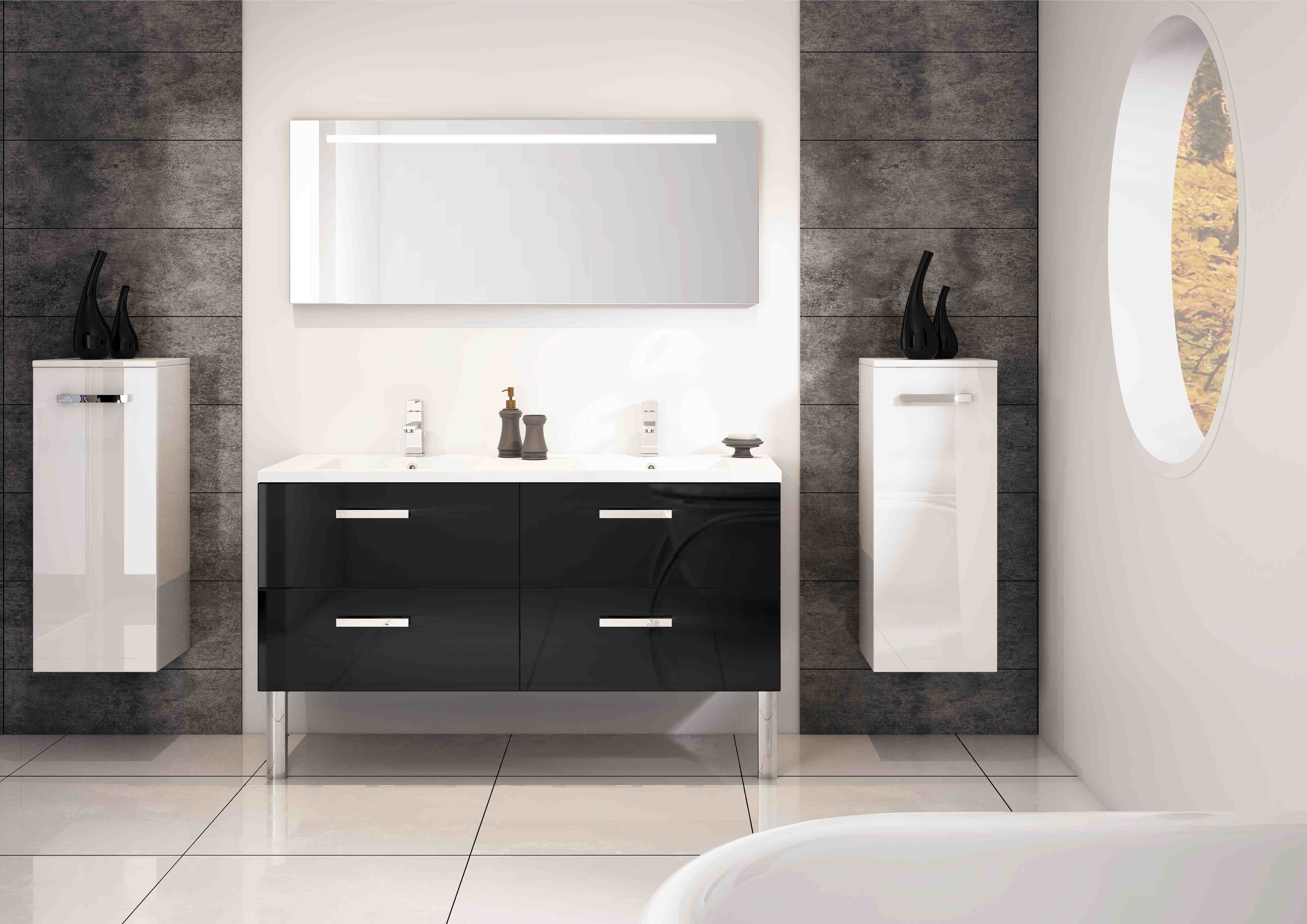 meuble salle de bain noir et blanc. Black Bedroom Furniture Sets. Home Design Ideas