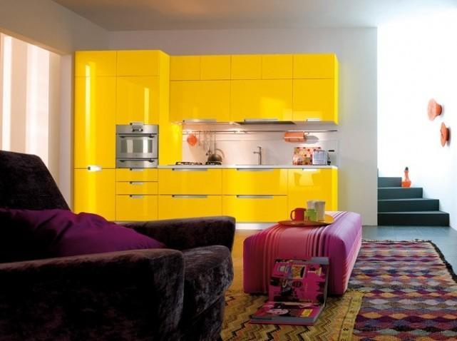 Meuble de cuisine jaune en ligne for Meuble cuisine jaune