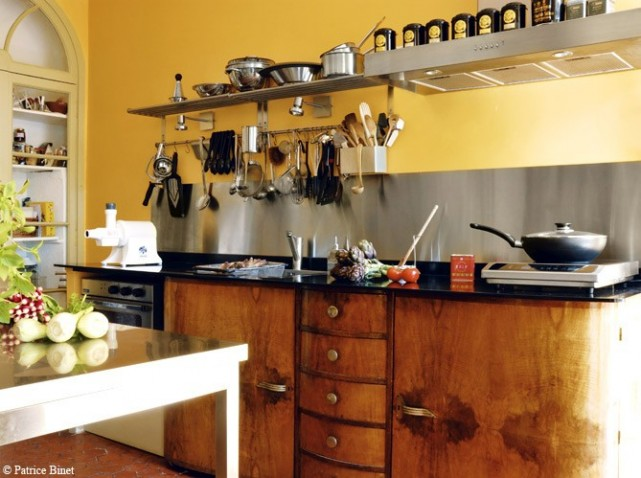 Meuble de cuisine jaune quelle couleur pour les murs for Accessoire cuisine jaune