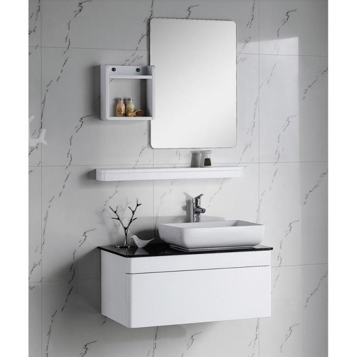 Meuble salle de bain laque blanc - Organisation salle de bain ...
