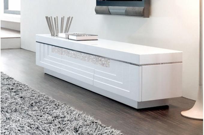 Meuble Tv Design Pas Cher Blanc Banc Pour Tv  Objets Decoration Maison
