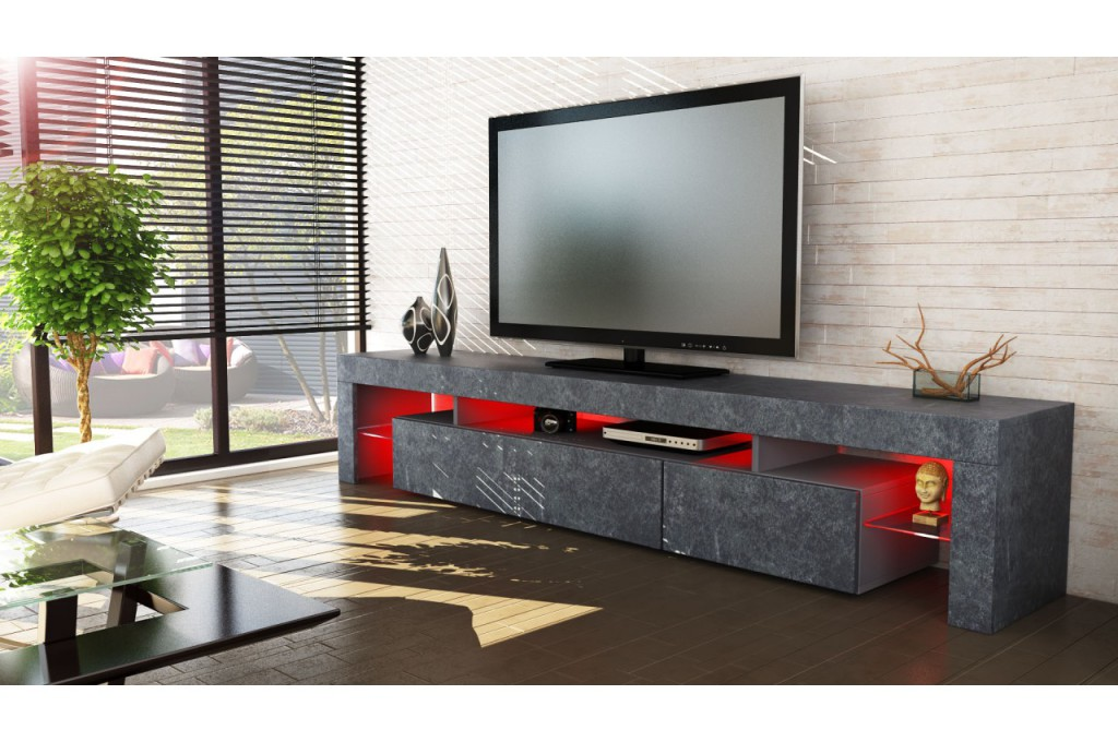 Meuble tv bas moderne for Meuble bas tv led