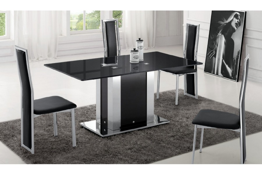 table a manger en verre design pas cher. Black Bedroom Furniture Sets. Home Design Ideas