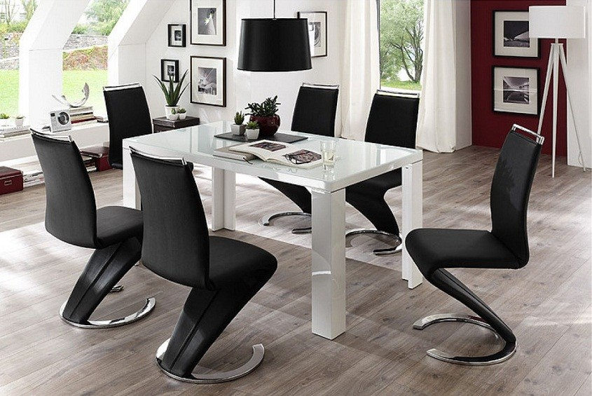 table a manger sharon laque blanc 140x80 cm. Black Bedroom Furniture Sets. Home Design Ideas