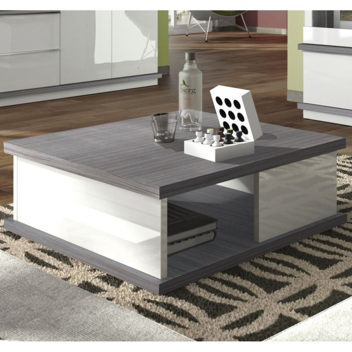 mobilier table table basse blanche et grise. Black Bedroom Furniture Sets. Home Design Ideas