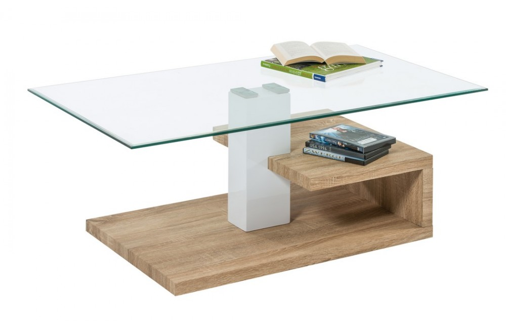 Table basse design verre et bois - Table basse verre ...