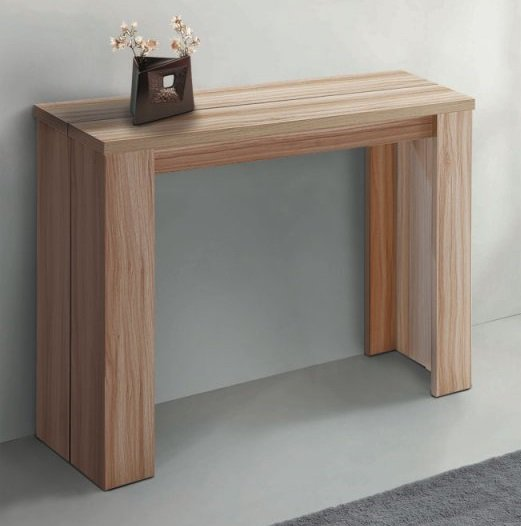 Table console extensible bois for Table extensible design bois