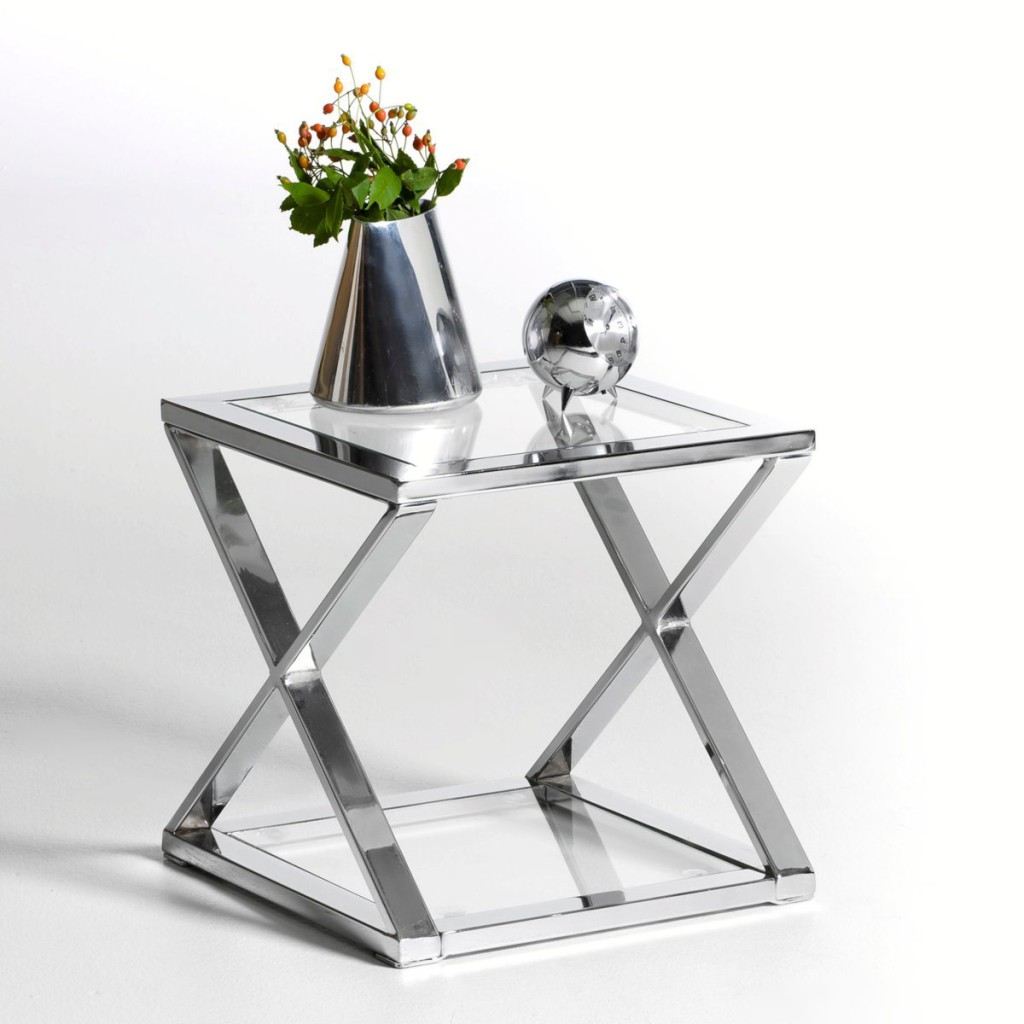Table de chevet verre metal - Table de chevet en metal ...