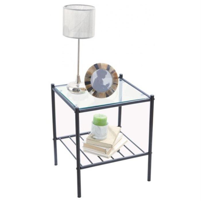 Table de chevet verre metal - Table de chevet metal ...