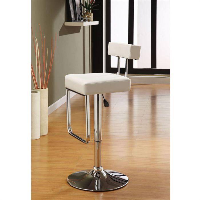 tabouret de bar simili cuir blanc. Black Bedroom Furniture Sets. Home Design Ideas