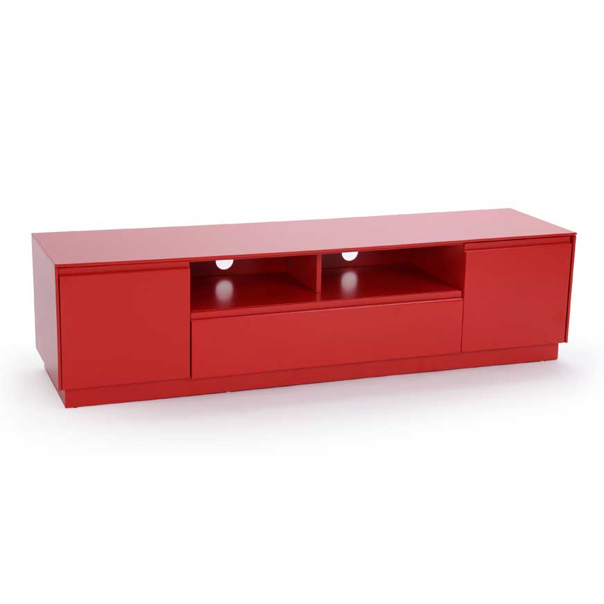 Buffet bas rouge laque for Meuble tv rouge
