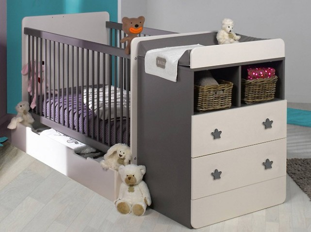 Photo lit bebe avec table a langer for Meuble lit enfant