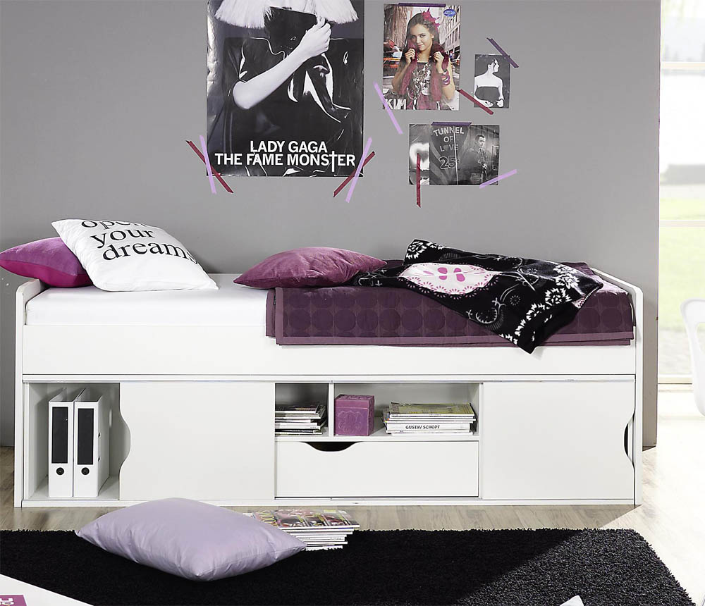 lit une personne avec rangement. Black Bedroom Furniture Sets. Home Design Ideas