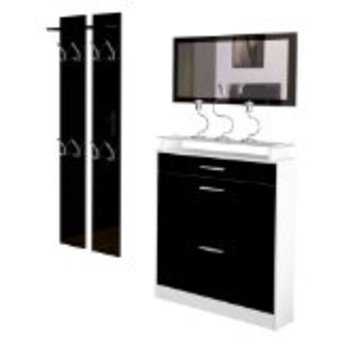meuble chaussures noir laque. Black Bedroom Furniture Sets. Home Design Ideas