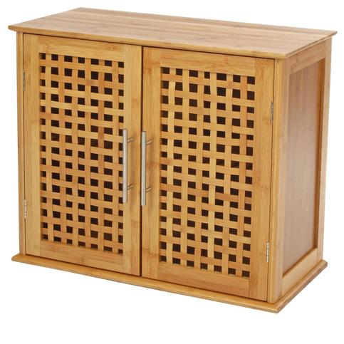 Meuble haut salle de bain en bambou for Meuble bas salle de bain bambou