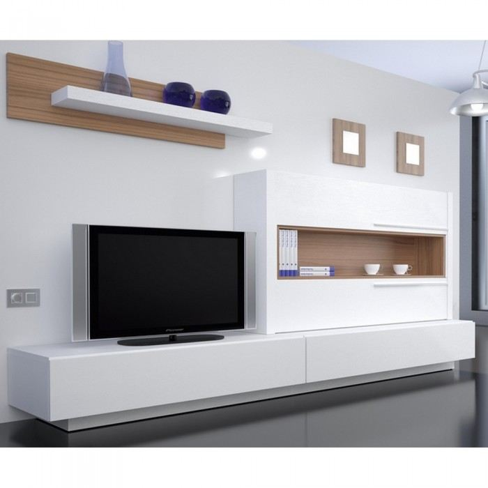Meuble tv bas et long design for Meuble bas tv led