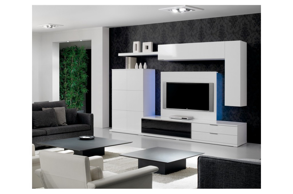meuble tv haut de gamme noir. Black Bedroom Furniture Sets. Home Design Ideas