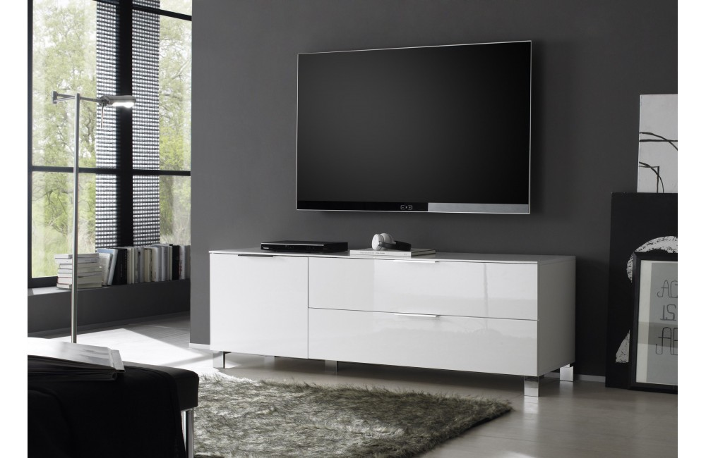 vegas meuble tv design laque blanc et noir avec led. Black Bedroom Furniture Sets. Home Design Ideas