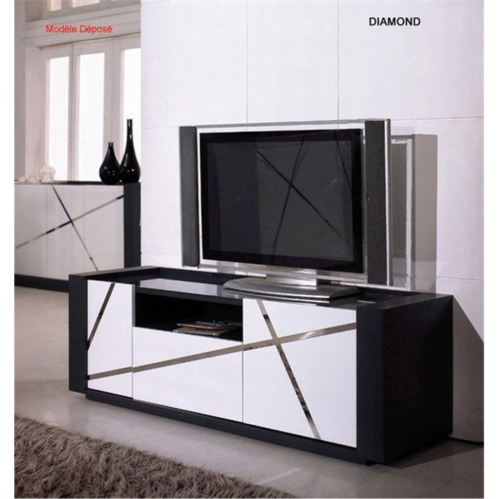 organisation meuble tv haut laque blanc. Black Bedroom Furniture Sets. Home Design Ideas