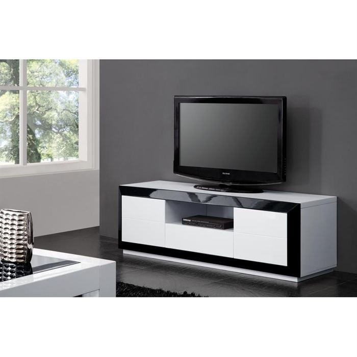 meuble tv haut noir laque. Black Bedroom Furniture Sets. Home Design Ideas