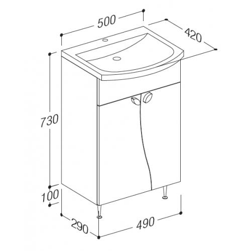 meuble salle de bain 50 cm de large