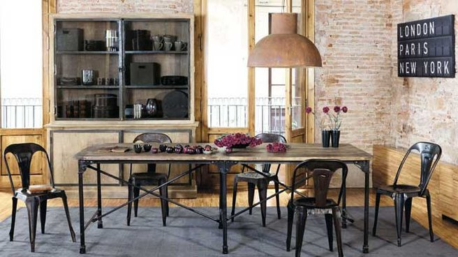 table rabattable cuisine paris table a manger industrielle pas cher. Black Bedroom Furniture Sets. Home Design Ideas