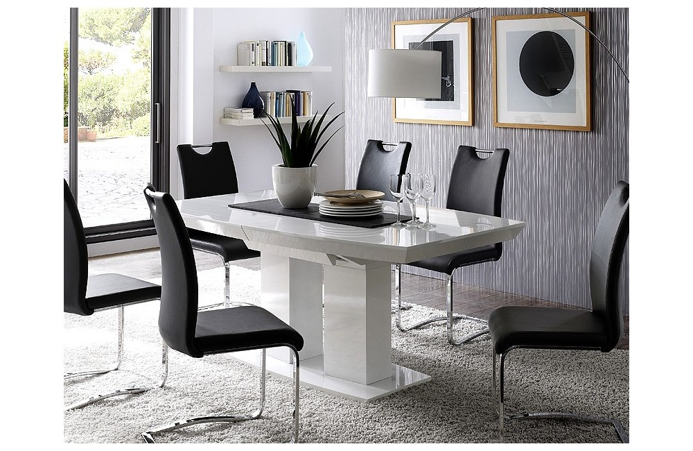 table a manger laque blanc. Black Bedroom Furniture Sets. Home Design Ideas