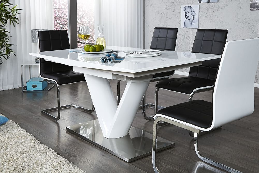 Table a manger blanc laque for Table extensible noir et blanc
