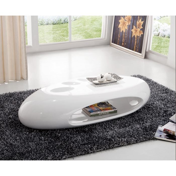 Table basse ovale blanc - Table basse ovale design ...