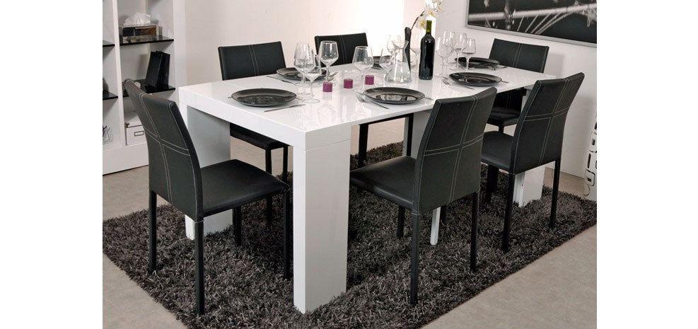 table console laquee blanc extensible. Black Bedroom Furniture Sets. Home Design Ideas