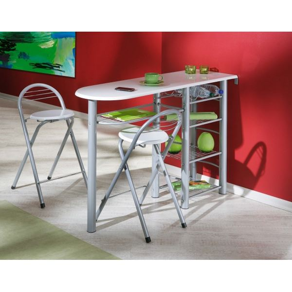 Table de bar avec tabouret for Table avec tabouret encastrable