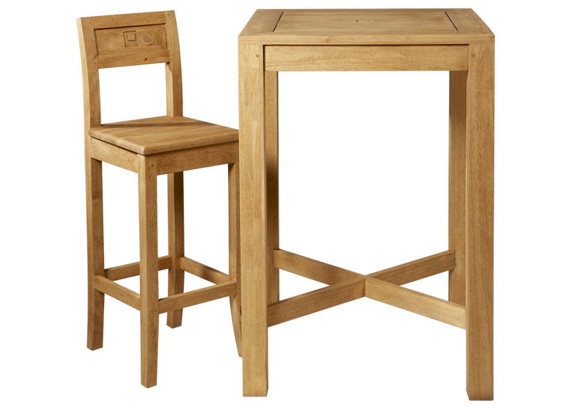 Table de bar en bois for Table bar haute bois