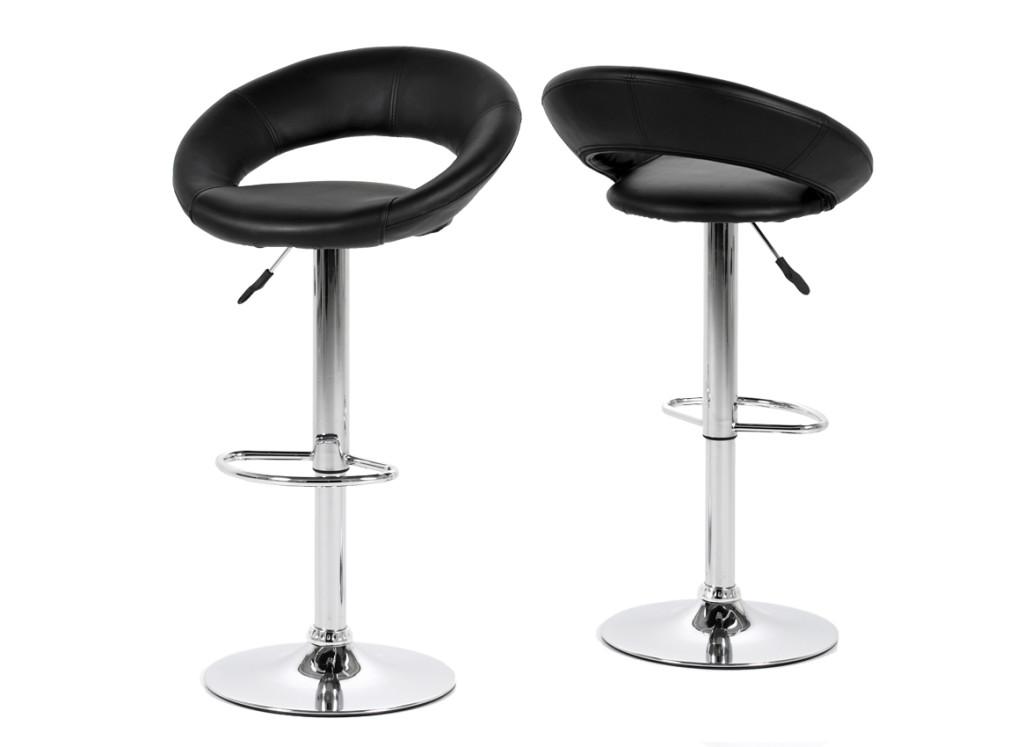 Table de bar haute design noir et chrome for Table haute de bar noir