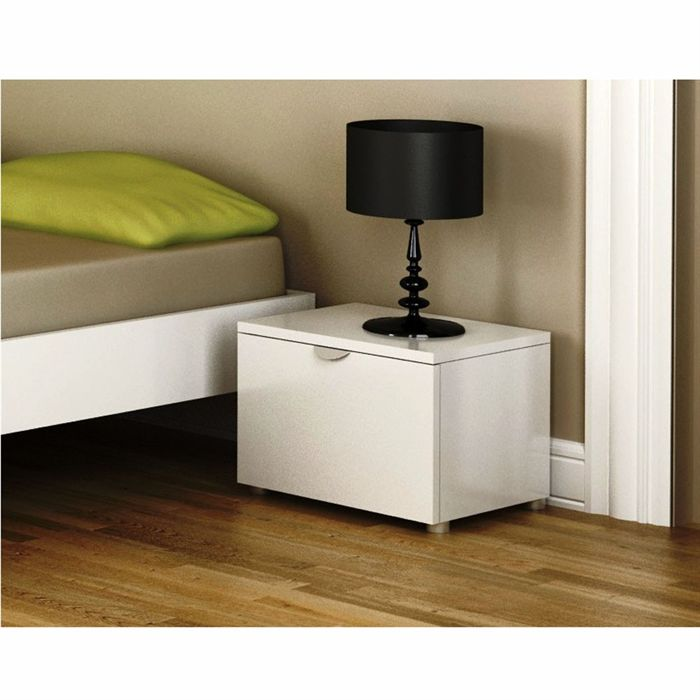 Table chevet blanc laqu table de chevet chambre adulte - Table de nuit pas cher ...