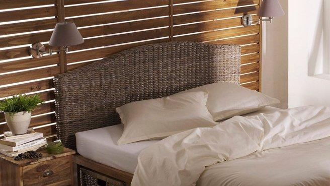 Meuble cuisine dimension: Tete de lit en rotin