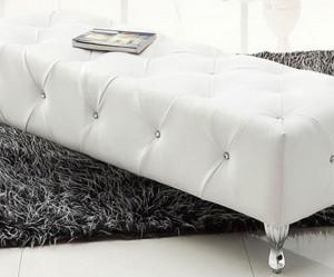 banc de lit cuir blanc