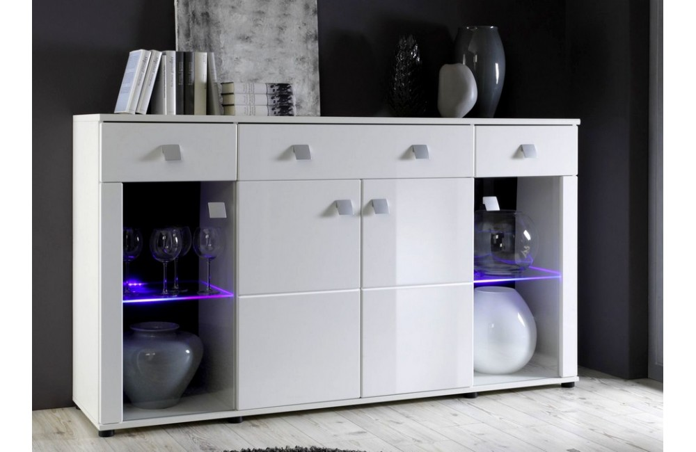 Exemple buffet bas laque blanc pas cher - Buffet salon blanc laque ...
