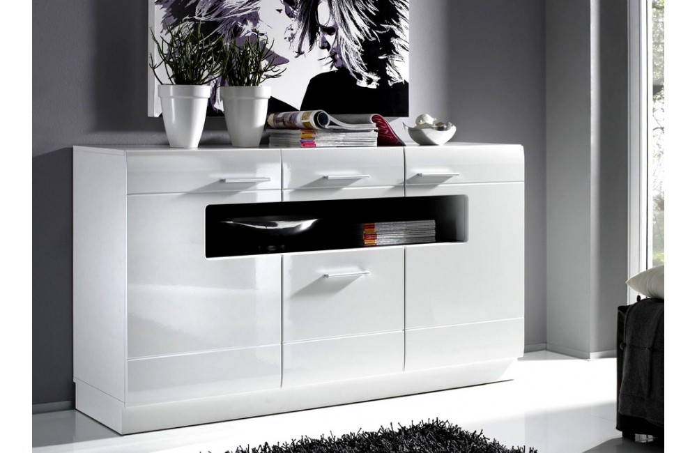 Mod le buffet bas laque blanc pas cher for Solde meuble de salon