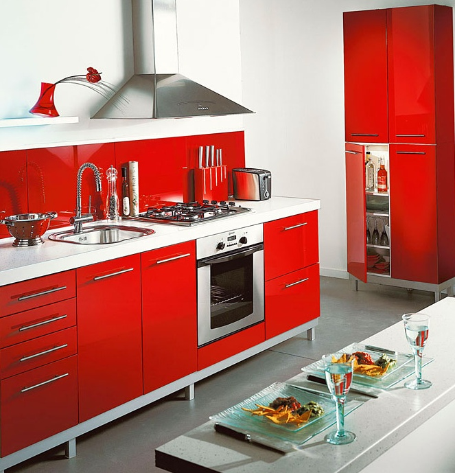 Buffet de cuisine rouge conforama for Modele cuisine rouge